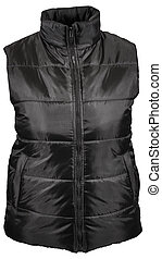 Black winter vest with pockets and zipper isolated on white