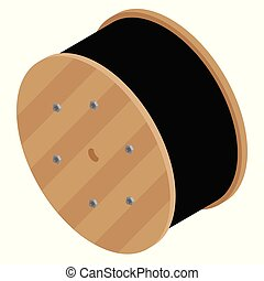 Black wire electric cable with wooden coil of electric...