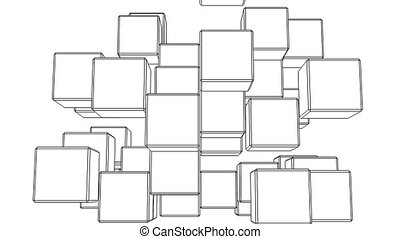 Black Wire Frame Cube Abstract On White Background.