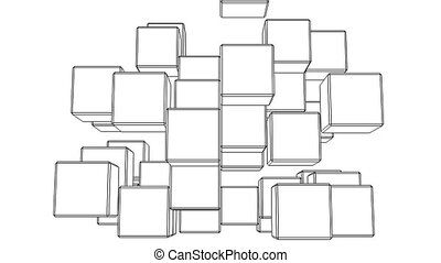 Black Wire Frame Cube Abstract