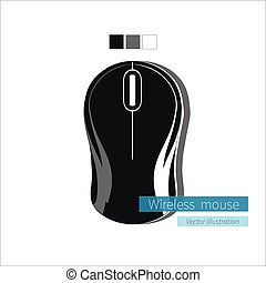 Black Wireless Computer Mouse on White Background.