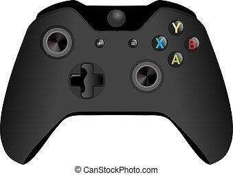 Black wireless Game controller isolated on white