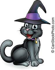 Black Witches Cat Cartoon Character in Hat - A black...