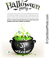 Black witches cauldron with green brew, page template