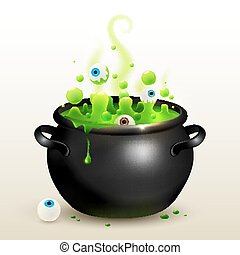 black witches cauldron with green potion and eyes