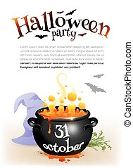 Black witches cauldron with orange brew and Halloween date sign, poster template