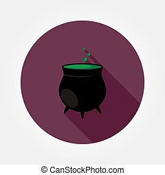 Black witches pot with potion.