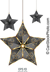 black with gold star vector