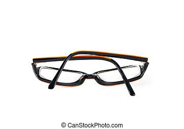 Black with orange glasses on white background