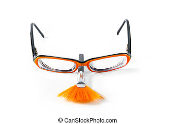 Black with orange glasses on white background