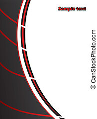 Black with red stripes and white space for text