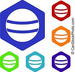 Black with white stripes icons set hexagon