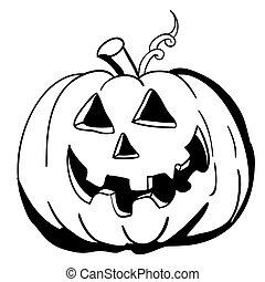 black , witte , halloween, pompoen