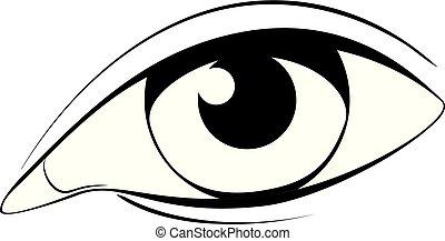black , witte , oog, menselijk