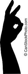black , witte , silhouette, achtergrond, handen