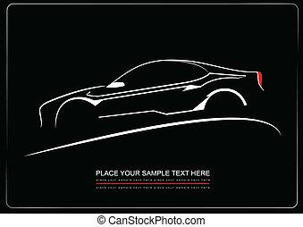 black , witte , silhouette, ba, auto