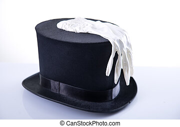 Black wizard top hat with white glove