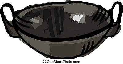 Black wok, illustration, vector on white background.