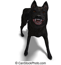 Black Wolf. 3D rendering with clipping path and shadow over white