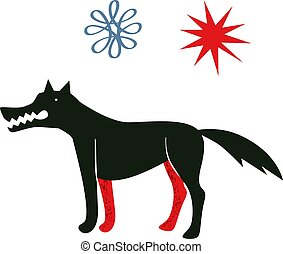 Black wolf illustration on dark background