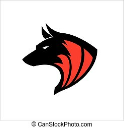 Black wolf, Wild wolf. Black wild dog. k-9, Dog logo, Canine logo suitable for team mascot, community icon, emblem, product identity, illustration for clothing, etc.