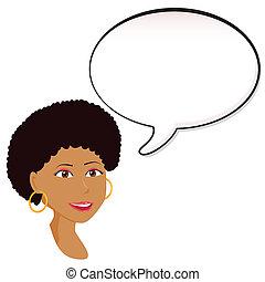 Black Woman announcement with speech bubble.