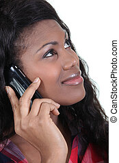 black woman, -ban, telefon