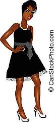 Black Woman Black White Dress