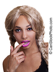 Black Woman Blond Wig Finger In Mouth