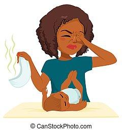 Black Woman Changing Stinky Diaper