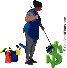 black woman cleaning dollar
