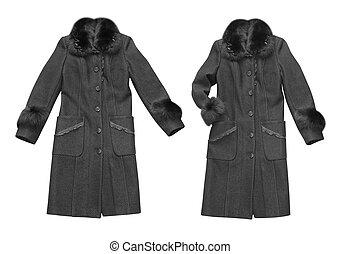 black woman coat isolated