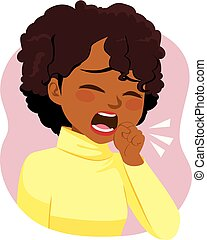 Black Woman Coughing Ill