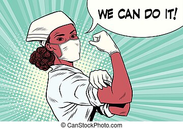 Black woman doctor we can do it. Vintage pop art retro...