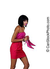 Black Woman Dress Holding High Heels Worried