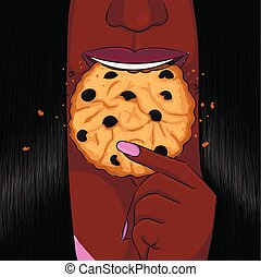 Black woman eat cookie hand drawing portrait