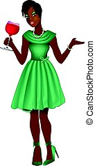 Vector Illustration of Black woman with green dress and red wine.