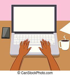 Black Woman Hands Laptop