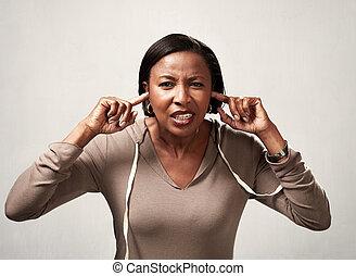 Black woman hearing anything