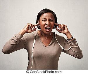 Black woman hearing anything - African american woman avoid...