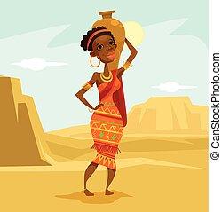 Black woman in desert