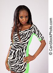 Black woman in dress with pattern