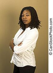 black woman in office