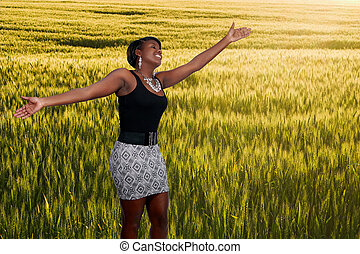Black Woman in Winter Wheat Field - An allergy free african ...