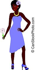 Vector Illustration of Black woman with purple dress and flowers.