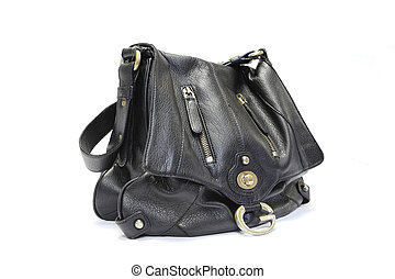 black woman leather bag isolated on white background