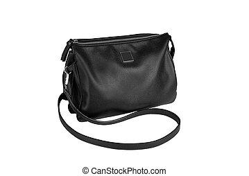 black woman leather handbag isolated on white background.