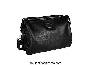 black woman leather handbag isolated on white background