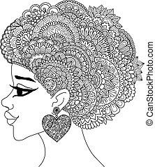 Black woman - Line art design of black woman with mandala ...