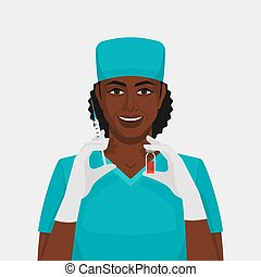 Black woman nurse with syringe and vial. Vector illustration